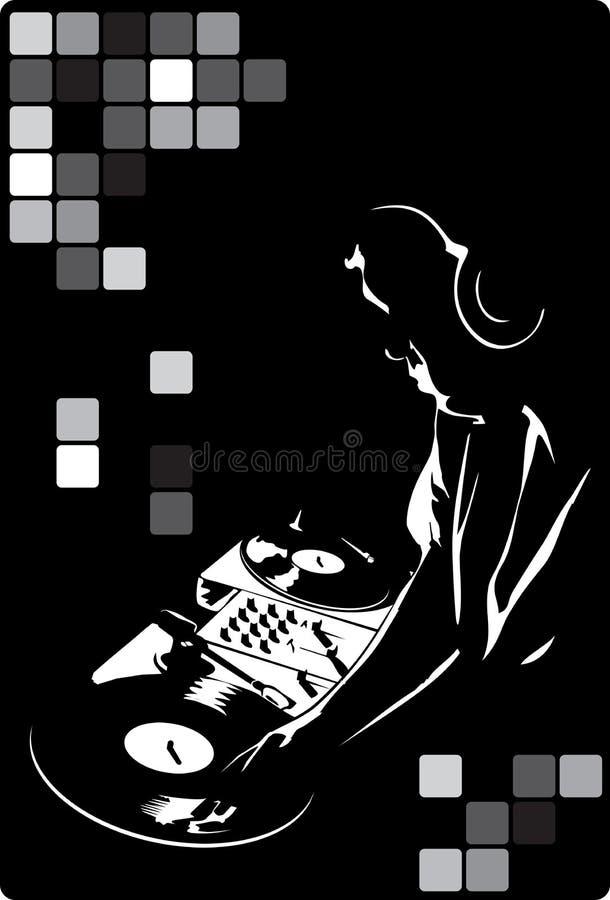 DJ en negro ilustración del vector