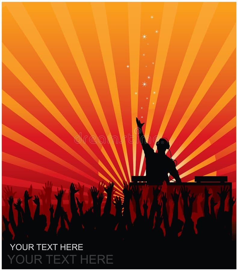 DJ en partido stock de ilustración
