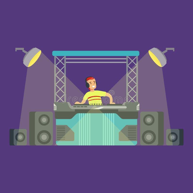 DJ en Zijn Mixermateriaal en Licht tonen, een Deel van Mensen bij de Reeks van de Nachtclub Vectorillustraties stock illustratie