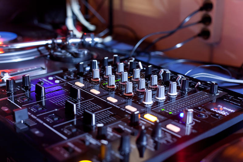 Dj equipment. In a disco royalty free stock image