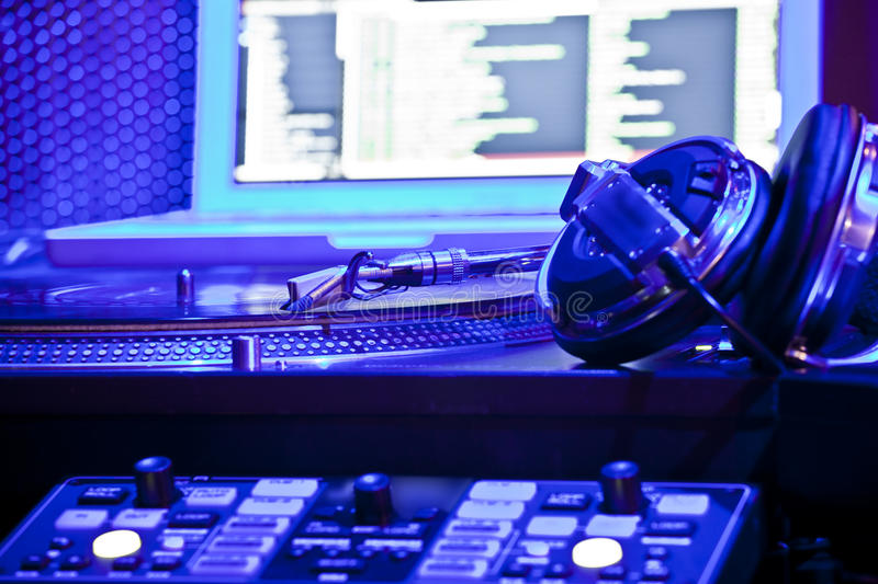 DJ equipment. Closeup of a the DJ sound equipment royalty free stock photos