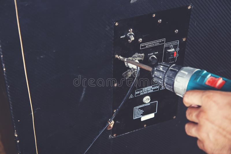 Dj equipment deck. Dj with tools on equipment deck background stock images