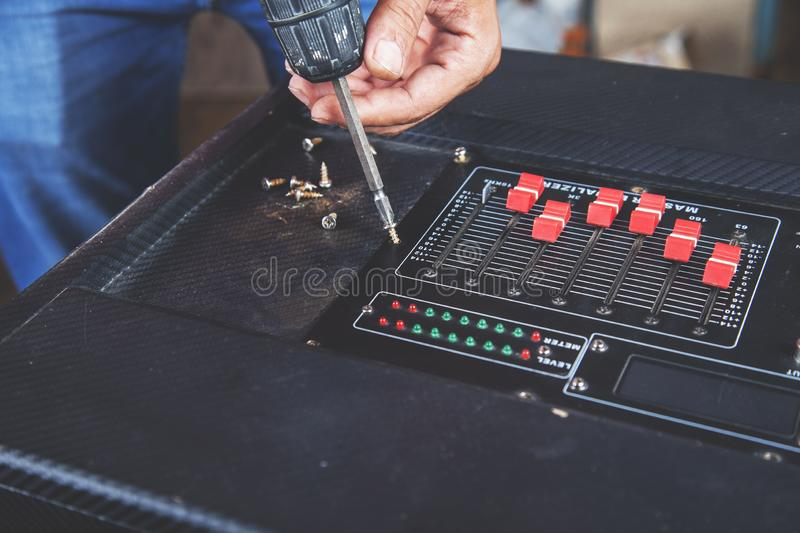 Dj equipment deck. Dj with tools on equipment deck background royalty free stock photography