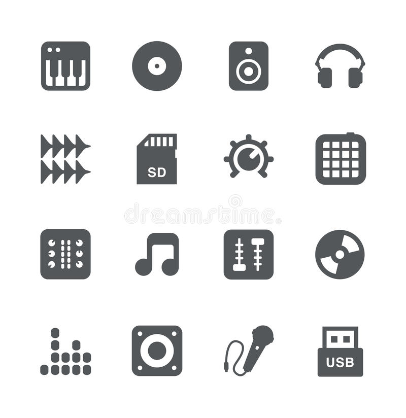 dj equipment simple icons set stock vector