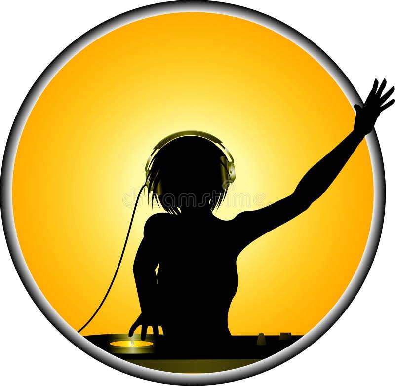 DJ femenino siluetea la frontera ilustración del vector