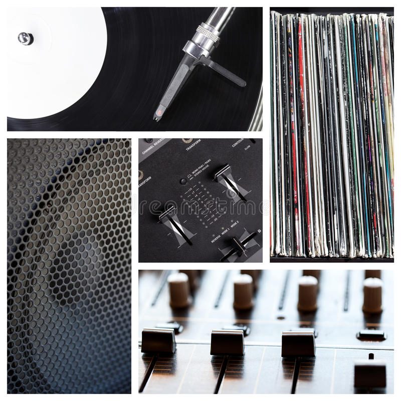 DJ filetea el collage fotografía de archivo libre de regalías