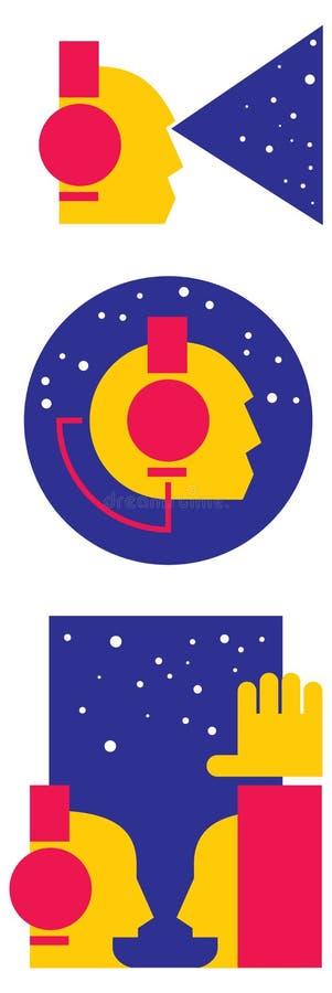 Dj flat icons. Graphic design , vector illustration royalty free illustration