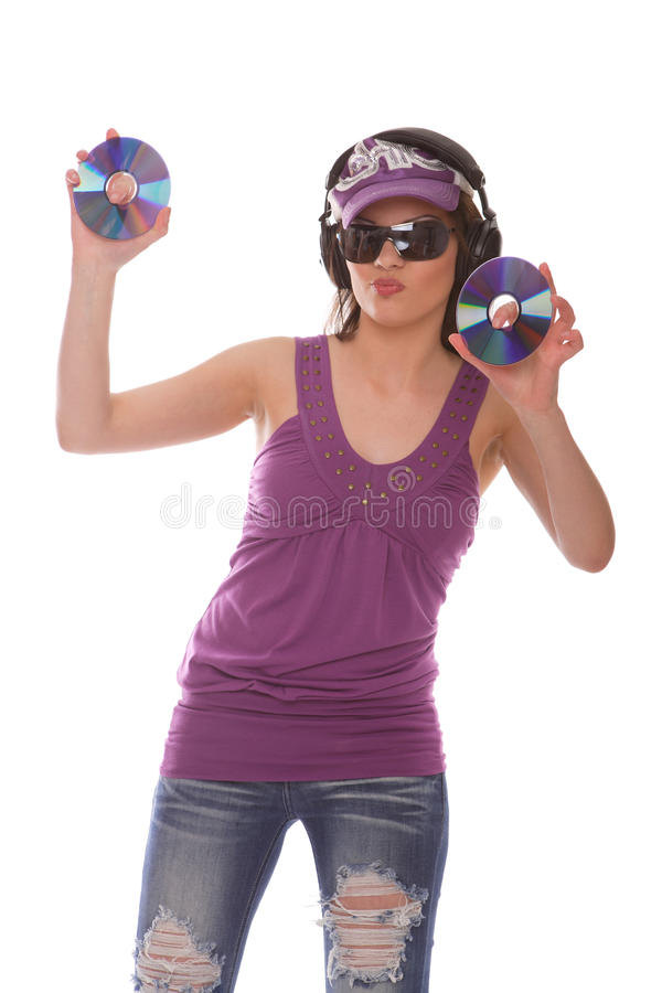 Download DJ Girl with cds stock image. Image of cool, fingers - 14162351