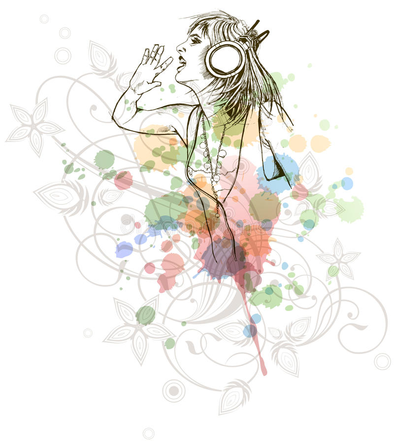 Free DJ Girl & Music Colors Mix - Floral Calligraphy Royalty Free Stock Photography - 18176227