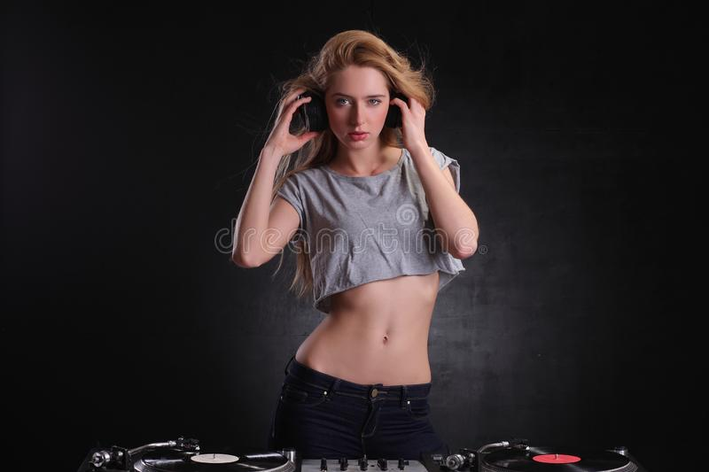 DJ girl royalty free stock photography