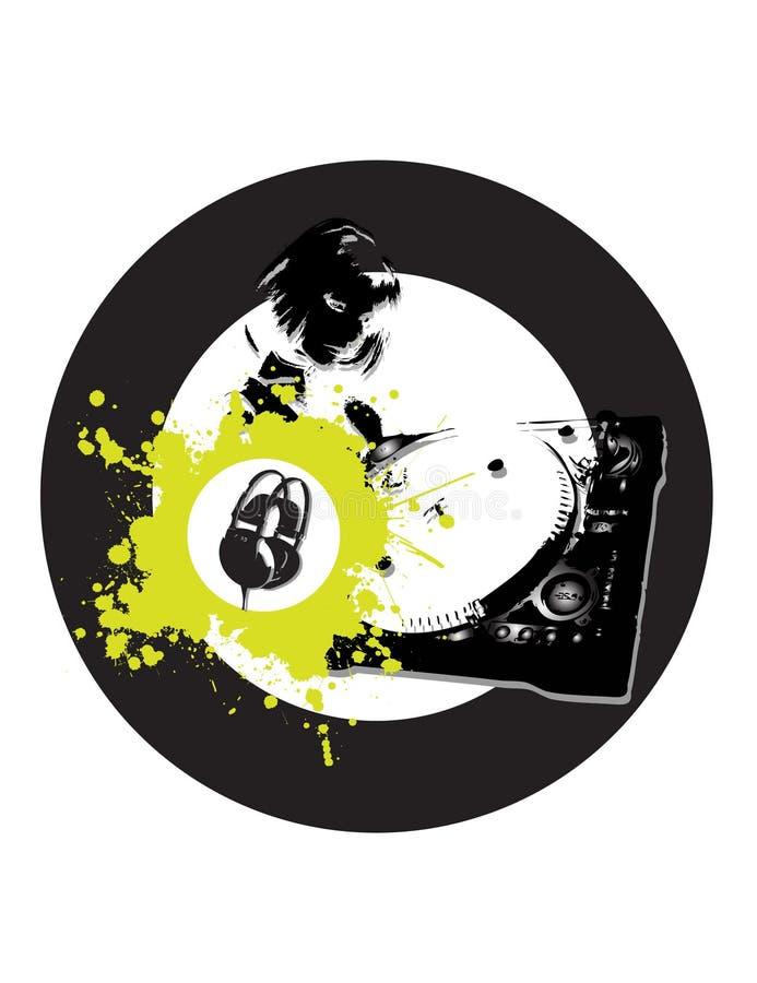 dj gramofonu pierścionku wojownik ilustracja wektor