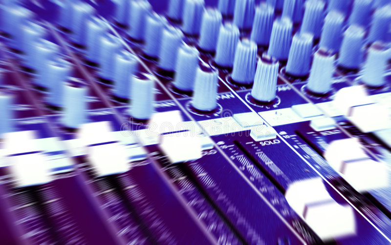 DJ Graphic equalizers & mixers. Mixing consoles for an Audiophile! -Image of an acoustic mixer and graphic equalisers used in audio engineering on an AV audio royalty free stock photography