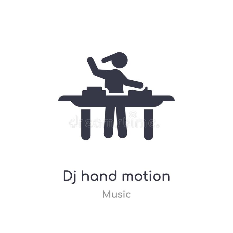 dj hand motion outline icon. isolated line vector illustration from music collection. editable thin stroke dj hand motion icon on stock illustration