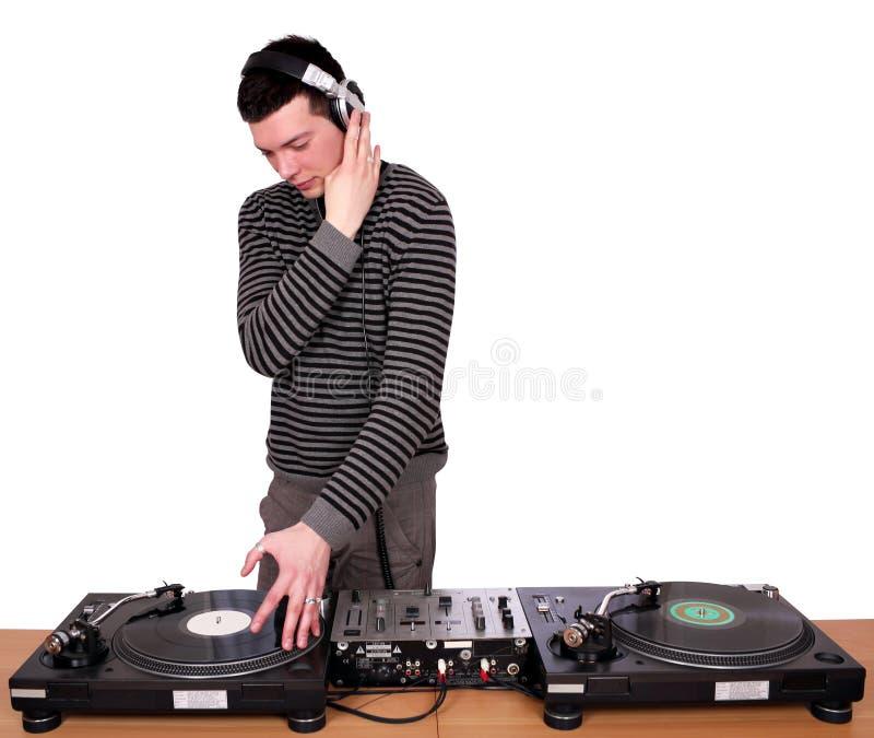 Dj with headphones stock photo