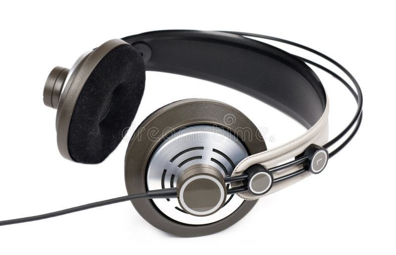 DJ Headphones. A view of DJ headphones, isolated on a white background royalty free stock photography
