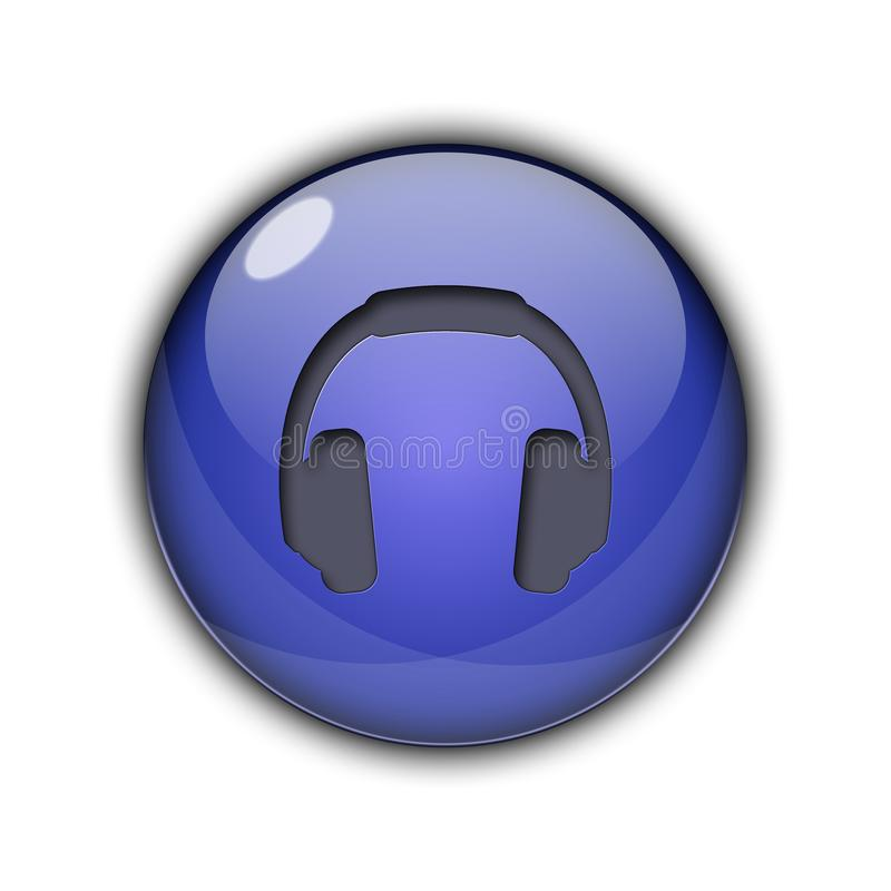 DJ headphones Buttons Icons 3D dark blue color stock photos
