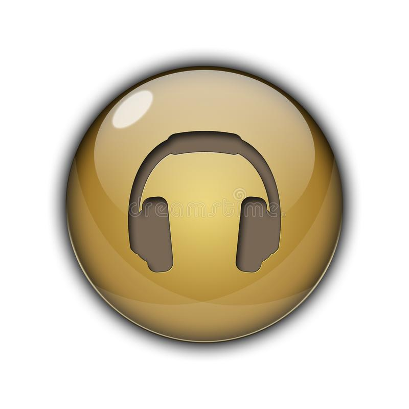 DJ headphones Buttons Icons 3D golden brown color stock image