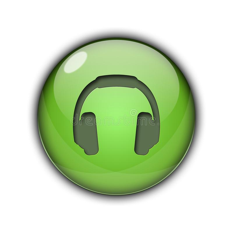 DJ headphones Buttons Icons 3D green color royalty free stock image