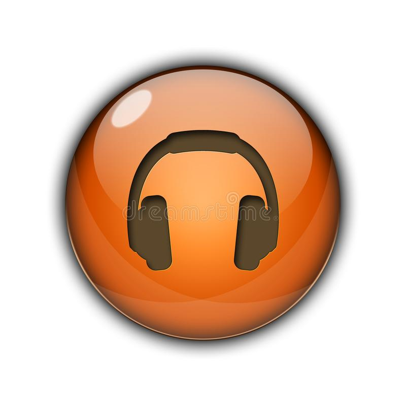 DJ headphones Buttons Icons 3D orange color stock photos