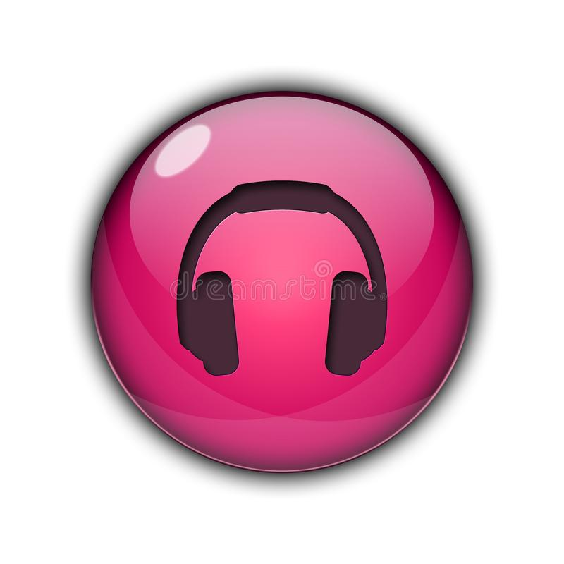 DJ headphones Buttons Icons 3D pink color stock photography