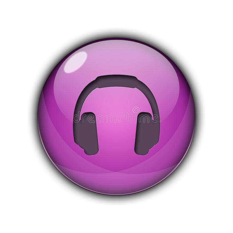 DJ headphones Buttons Icons 3D purple color stock photos