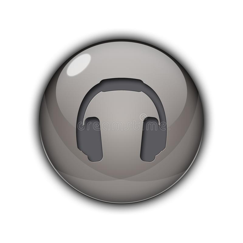 DJ headphones Buttons Icons 3D silver color royalty free stock photo