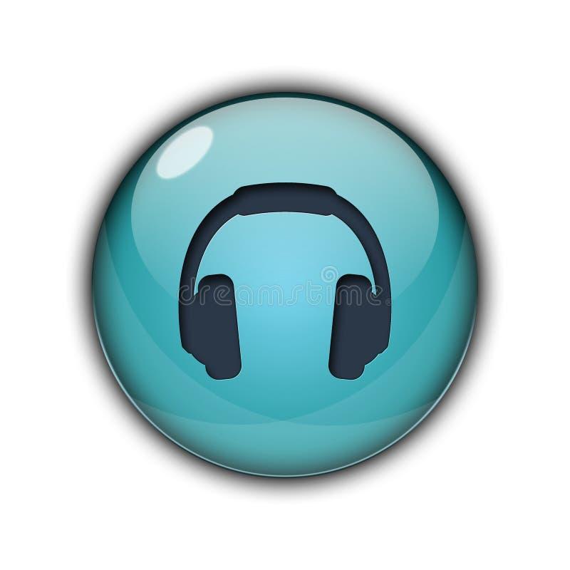 DJ headphones Buttons Icons 3D Sky blue color. DJ headphones Button icons and buttons Symbol sing 3d Multicolor; goldenm sky blue, dark blue, yellow, purple, red stock illustration