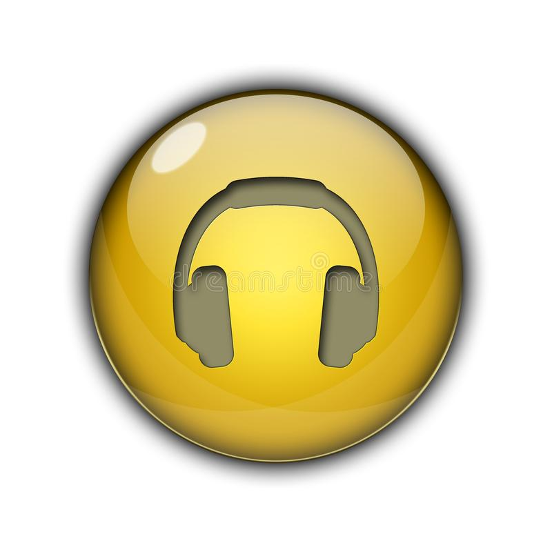 DJ headphones Buttons Icons 3D yellow color stock photography