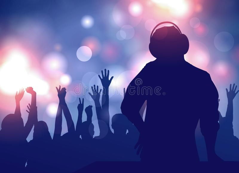 DJ headphones entertains people at the party. stock illustration