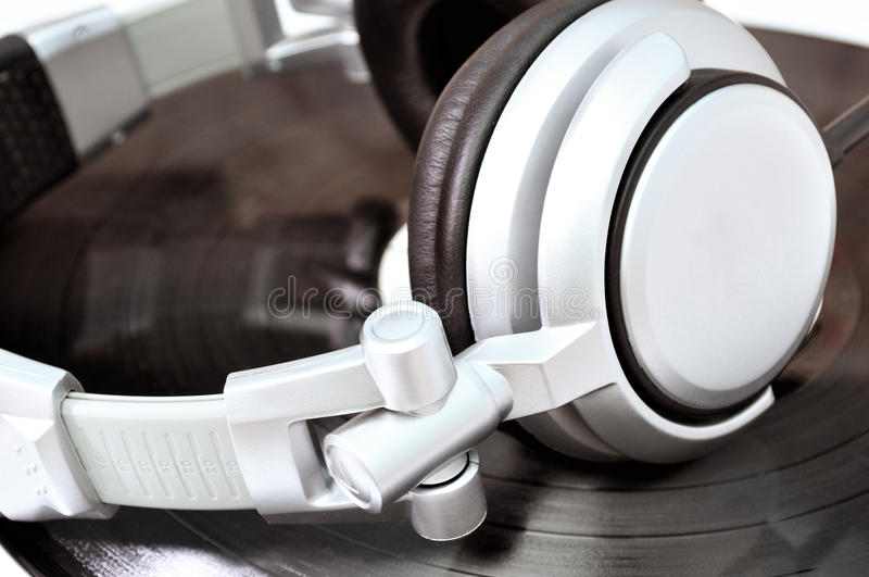 Download DJ Headphones Lying Over Black Vinyl Stock Photo - Image: 16582490