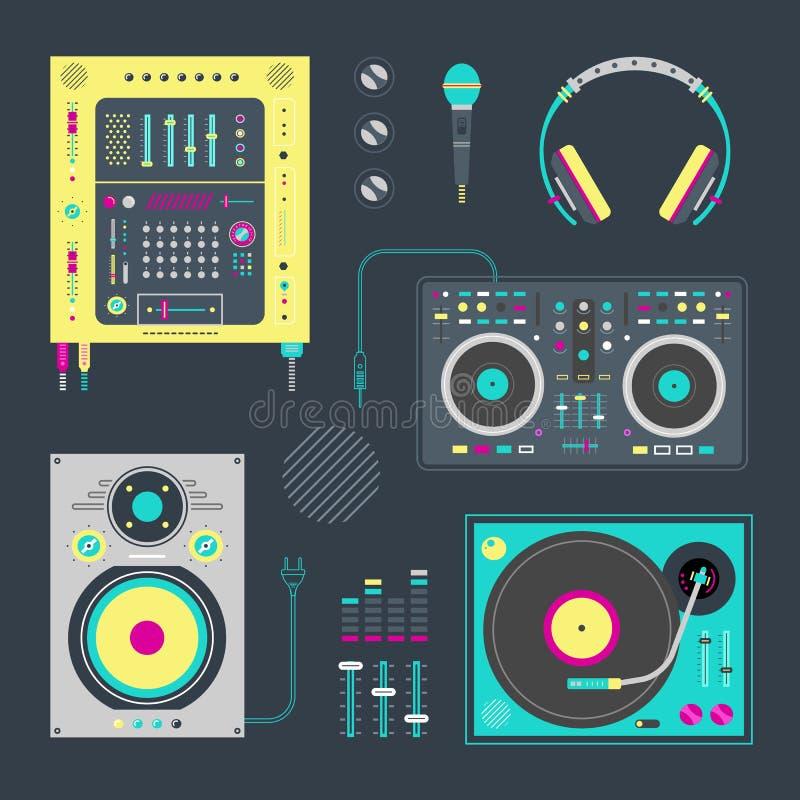 DJ icons vector illustration