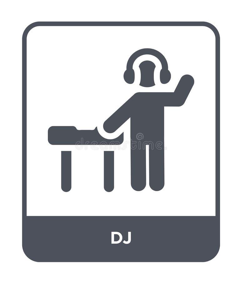 dj ikona w modnym projekta stylu DJ ikona odizolowywająca na białym tle dj wektorowej ikony prosty i nowożytny płaski symbol dla  royalty ilustracja