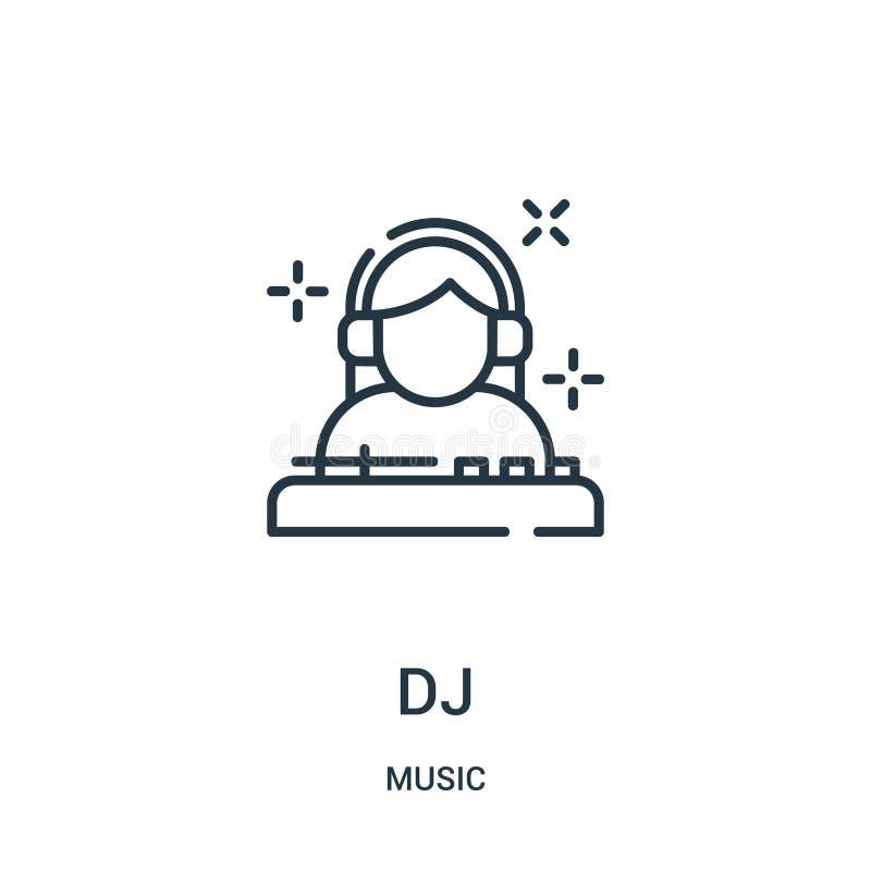 dj ikony wektor od muzycznej kolekcji Cienka linia dj zarysowywa ikona wektoru ilustracj? ilustracja wektor