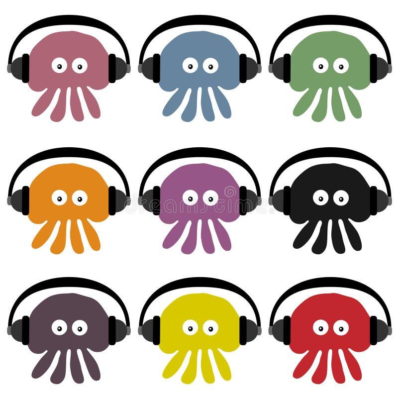 DJ Jellyfish. Nine different coloured jellyfish wearing headphones stock illustration