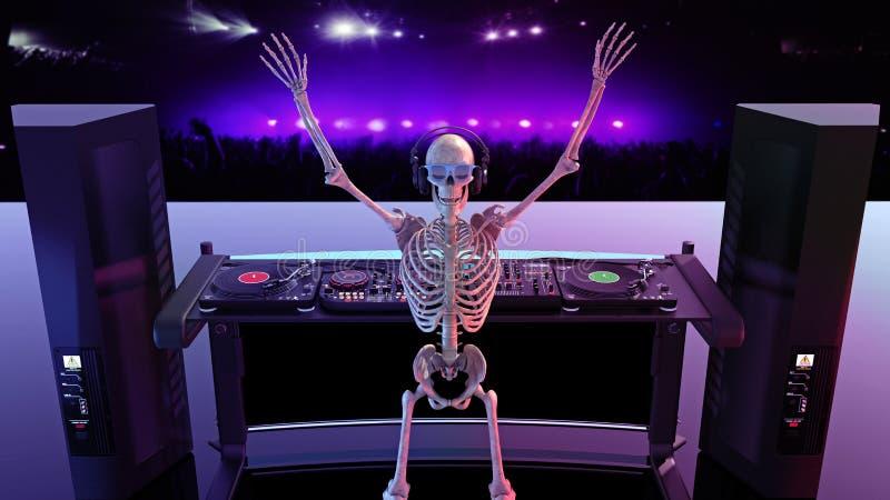 DJ-Knochen, das menschliche Skelett, das Musik auf Drehscheiben, Skelett auf Stadium mit Diskjockeytonausrüstung spielt, 3D übert stock abbildung