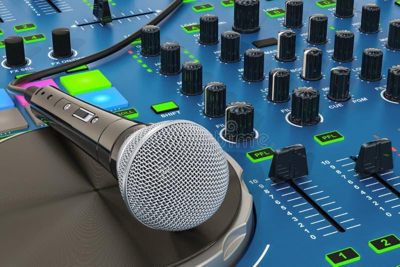 DJ-Konsole mit Mikrofonnahaufnahme, Wiedergabe 3D vektor abbildung