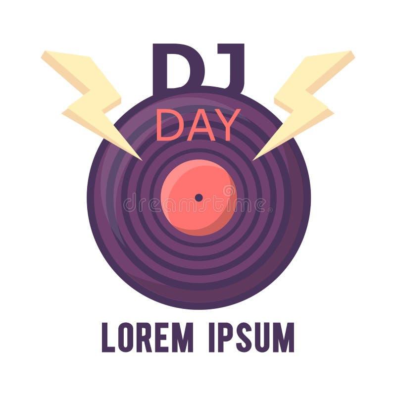 Dj logo design,world dj dy.World music day stock illustration