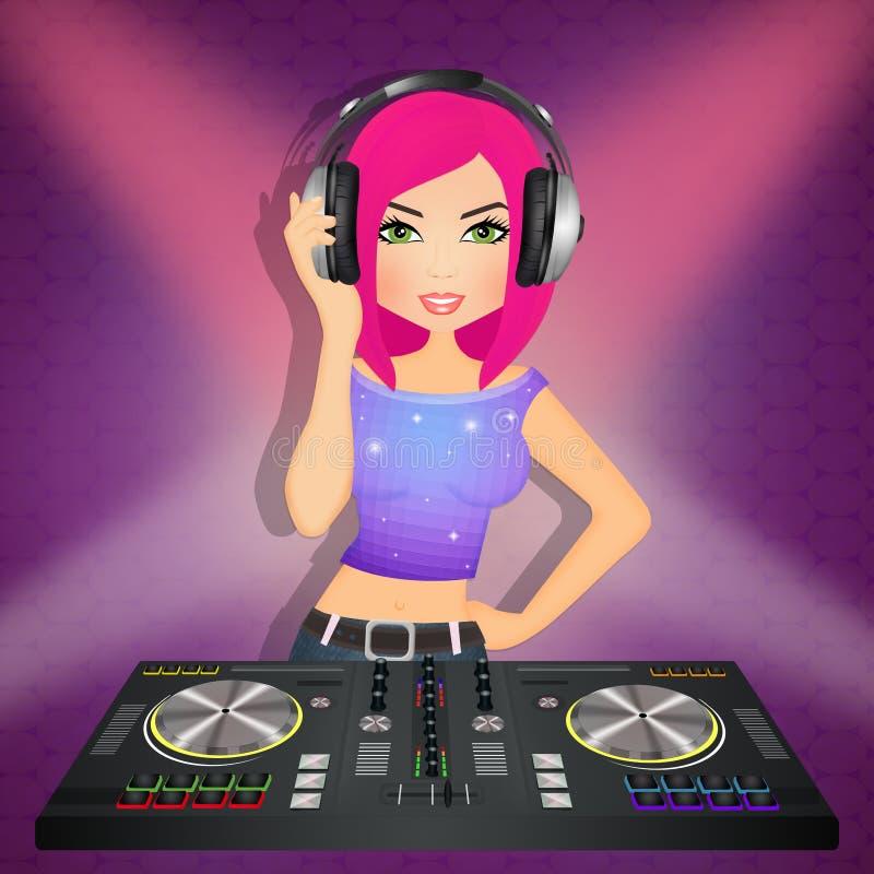 DJ-Mädchen an der Konsole stock abbildung