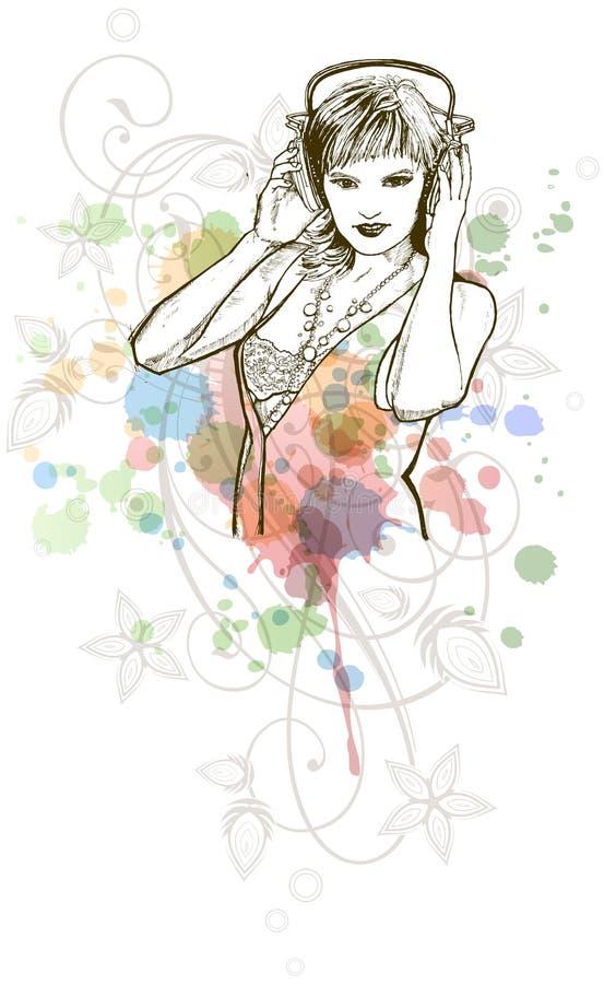 DJ-Mädchen u. Musikfarben mischen - Blumenverzierung lizenzfreie abbildung