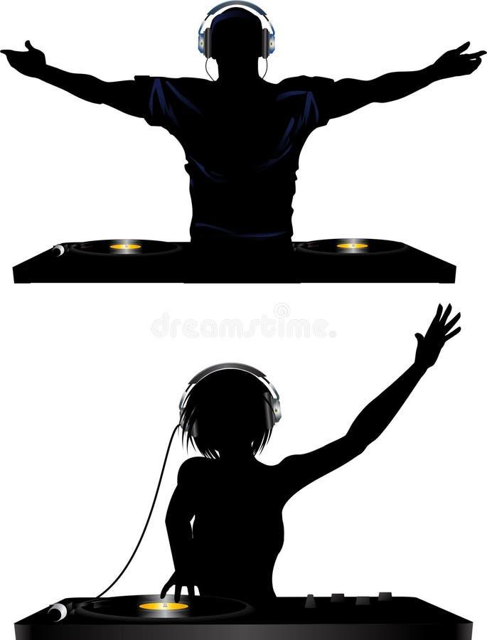 DJ masculino y femenino y cubiertas de registro stock de ilustración