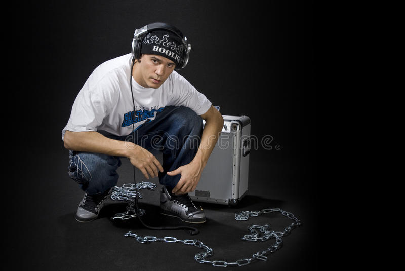 DJ met luidspreker royalty-vrije stock afbeelding