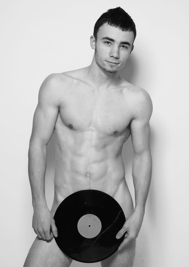DJ mit Vinyl stockbilder