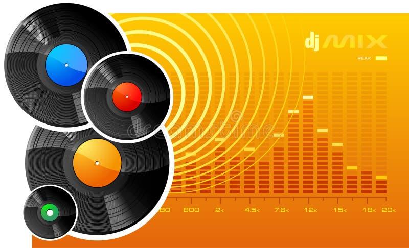 DJ mix. A vector image of several vinyl disks on an orange background stock illustration