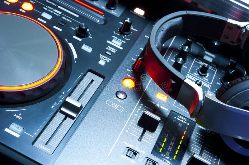 Dj Mixer Console Illuminated Stock Image