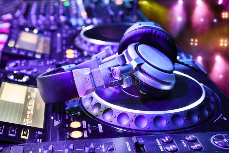 Dj mixer with headphones stock image