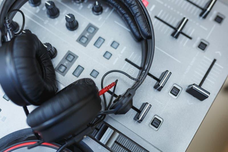 Download DJ Mixer with headphones. stock image. Image of instrument - 83710349