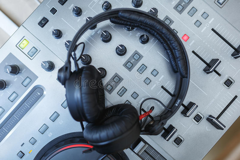 Download DJ Mixer with headphones. stock image. Image of producer - 83710391