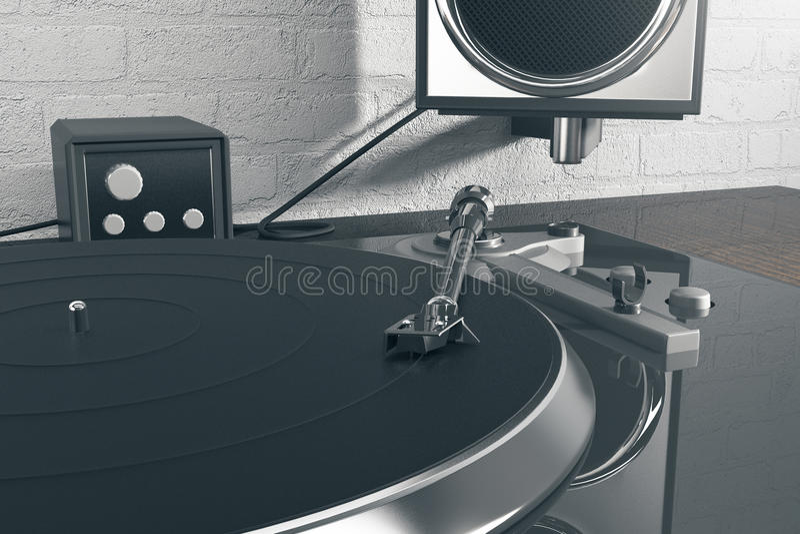 Dj mixer and loudspeaker. Close up. 3D Rendering vector illustration