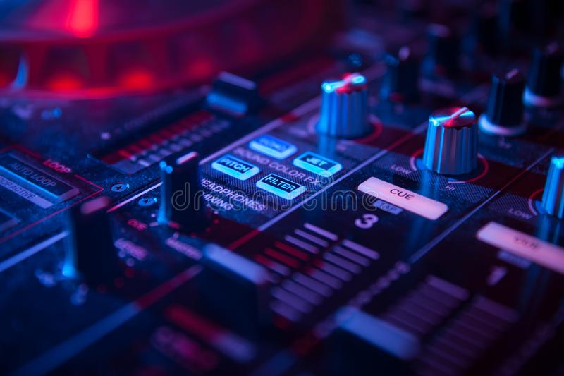 DJ Mixer for mixing music. In the club royalty free stock photography