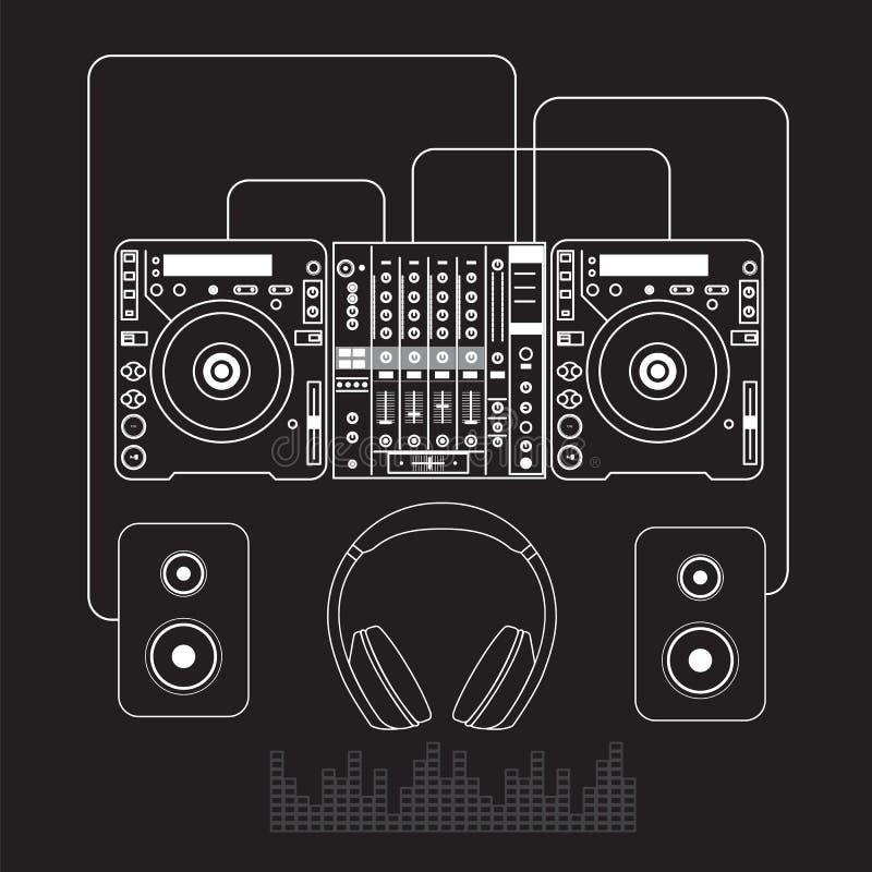 Dj mixer sound turntables headphone isolated vector illustration